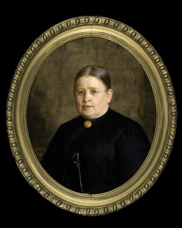 Charlotta Lydecken toimi Jyväskylän seminaarin naisosaston johtajattarena vuosina 1867-1893. Maria Wiikin maalama muotokuva on vuodelta 1891.